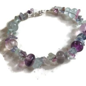 Shop Fluorite Bracelets! Fluorite Bracelet – Purple Green Gemstone Jewellery – Sterling Silver – Multicolor | Natural genuine Fluorite bracelets. Buy crystal jewelry, handmade handcrafted artisan jewelry for women.  Unique handmade gift ideas. #jewelry #beadedbracelets #beadedjewelry #gift #shopping #handmadejewelry #fashion #style #product #bracelets #affiliate #ad