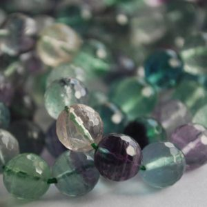 "Shop Fluorite Faceted Beads! High Quality Grade A Natural Rainbow Fluorite Semi-precious Gemstone FACETED Round Beads – 6mm, 8mm, 10mm sizes – Approx 15"" strand 
