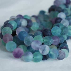 "High Quality Grade A Natural Rainbow Fluorite – MATTE – Semi-precious Gemstone Round Beads – 4mm, 6mm, 8mm, 10mm sizes – Approx 15.5"" strand 