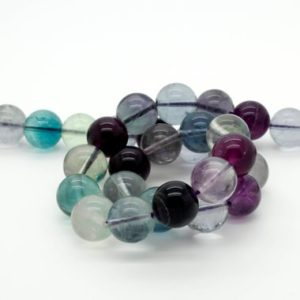 "Shop Fluorite Beads! Natural Fluorite Smooth Round Ball Beads Strand, Full 15.5"" Strand Smooth Transparent Gemstone Bead 