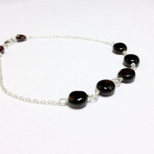 Shop Garnet Bracelets! Red Garnet Bracelet – January Birthstone – Sterling Silver Jewelry – Gemstone Jewellery Skinny Layer Chain Crimson Dainty Simple  B-154 | Natural genuine Garnet bracelets. Buy crystal jewelry, handmade handcrafted artisan jewelry for women.  Unique handmade gift ideas. #jewelry #beadedbracelets #beadedjewelry #gift #shopping #handmadejewelry #fashion #style #product #bracelets #affiliate #ad