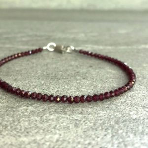 Rhodolite Garnet Bracelet | Natural Crystal Jewelry | Faceted Garnet Bead Bracelet | Silver or Gold Clasp | January Birthday Gift | Natural genuine Garnet bracelets. Buy crystal jewelry, handmade handcrafted artisan jewelry for women.  Unique handmade gift ideas. #jewelry #beadedbracelets #beadedjewelry #gift #shopping #handmadejewelry #fashion #style #product #bracelets #affiliate #ad