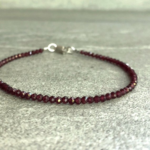 Rhodolite Garnet Bracelet | Natural Crystal Jewelry | Faceted Garnet Bead Bracelet | Silver Or Gold Clasp | January Birthday Gift