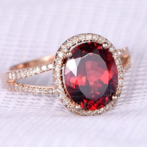 Shop Garnet Rings! 2.7ct Garnet Engagement Ring Solid 14k Rose Gold Oval Cut Stone Diamond Bridal Ring Wedding Band Halo Stack Personalized For Her Custom Ring | Natural genuine Garnet rings, simple unique alternative gemstone engagement rings. #rings #jewelry #bridal #wedding #jewelryaccessories #engagementrings #weddingideas #affiliate #ad