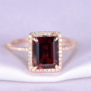 Shop Garnet Rings! Garnet Ring 7x9mm Emerald Cut Garnet Engagement Ring Diamond Ring Diamond Wedding Band Solid 14k Rose Gold Promise Ring Anniversary Ring | Natural genuine Garnet rings, simple unique alternative gemstone engagement rings. #rings #jewelry #bridal #wedding #jewelryaccessories #engagementrings #weddingideas #affiliate #ad