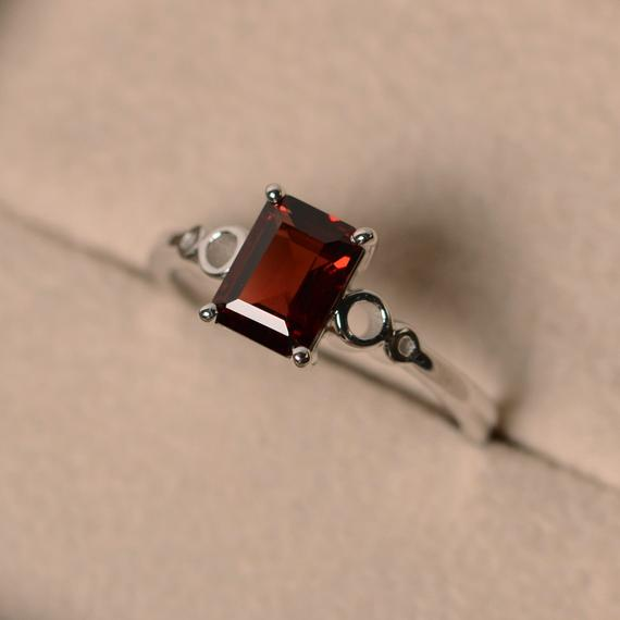 Garnet Engagement Rings, Emerald Cut, January Birthstone, Promise Ring, Sterling Silver 925, Solitaire Rings