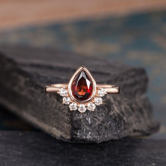 Garnet Engagement Ring Rose Gold Pear Shaped Rose Gold Bezel Set Unique Diamond Ring January Birthstone Bridal Anniversary Woman Promise