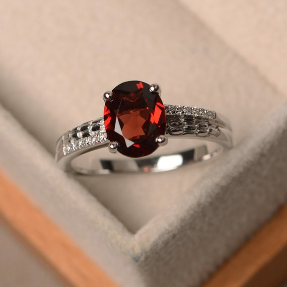 Garnet Ring For Women, Oval Cut Engagement Ring, January Birthstone Ring, Sterling Silver Ring