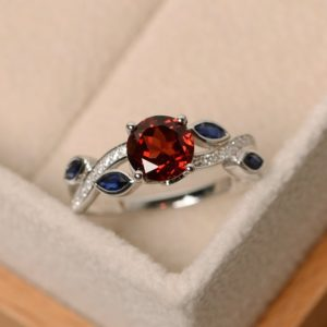 Shop Garnet Rings! Garnet ring, leaf ring, multistone ring, red gemstone ring, ring garnet | Natural genuine Garnet rings, simple unique handcrafted gemstone rings. #rings #jewelry #shopping #gift #handmade #fashion #style #affiliate #ad