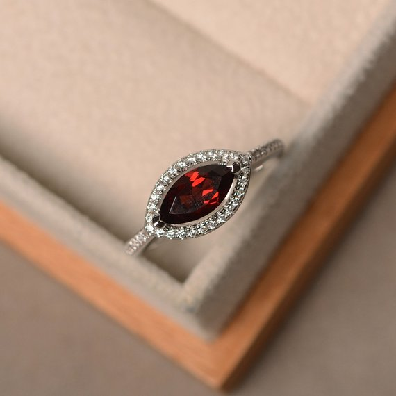 Marquise Cut Red Garnet Ring, Engagement Ring, Sterling Silver, January Birthstone Gemstone, Halo Ring
