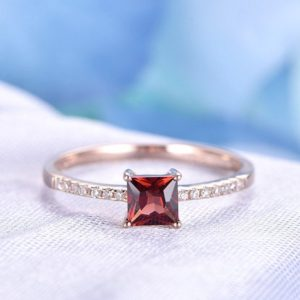 Natural Garnet Engagement Ring 5mm Princess Cut Stone Solid 14k Rose Gold Wedding Band Personalized For Her / him Custom Ring | Natural genuine Gemstone rings, simple unique alternative gemstone engagement rings. #rings #jewelry #bridal #wedding #jewelryaccessories #engagementrings #weddingideas #affiliate #ad