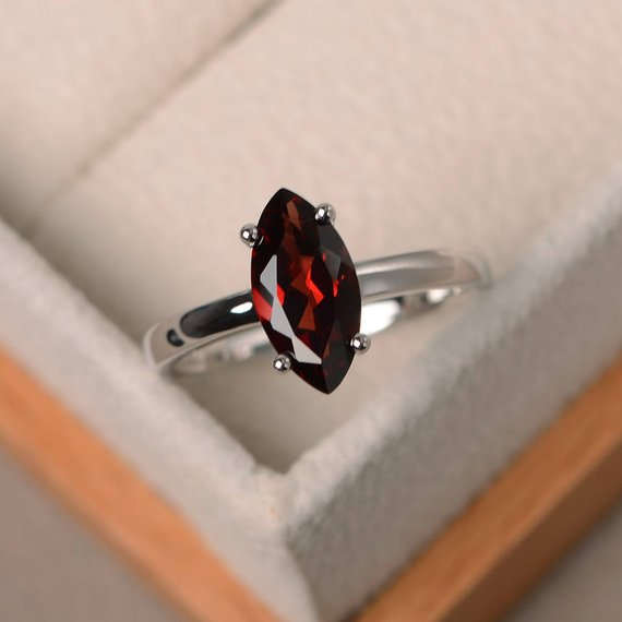Garnet ring marquise cut stone ring sterling silver January birthstone ring for women