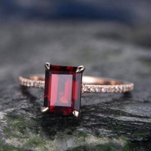Red Garnet Engagement Ring-14k Rose Gold-handmade Real Diamond Bridal Ring-classic Design-8x6mm Emerald Cut Gemstone Promise Ring-birthstone | Natural genuine Array jewelry. Buy handcrafted artisan wedding jewelry.  Unique handmade bridal jewelry gift ideas. #jewelry #beadedjewelry #gift #crystaljewelry #shopping #handmadejewelry #wedding #bridal #jewelry #affiliate #ad