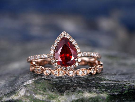 Red Garnet Engagement Ring-solid 14k Rose Gold- Diamond Bridal Ring Set-stacking Band-6x8mm Pear Shaped Cut Gemstone Promise Ring For Her