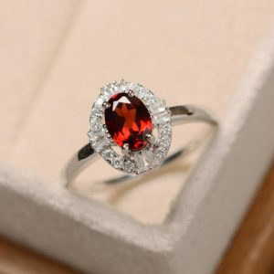 Shop Garnet Rings! Garnet ring, sterling silver, delicate ring, January birthstone, red gemstone ring, garnet | Natural genuine Garnet rings, simple unique handcrafted gemstone rings. #rings #jewelry #shopping #gift #handmade #fashion #style #affiliate #ad