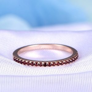 Shop Garnet Rings! Garnet Wedding Band Half Eternity Garnet Ring Solid 14k Rose Gold Matching Band Anniversary Ring Stackable Gemstone Ring Custom Jewelry | Natural genuine Garnet rings, simple unique alternative gemstone engagement rings. #rings #jewelry #bridal #wedding #jewelryaccessories #engagementrings #weddingideas #affiliate #ad
