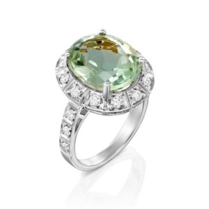 Gemstone Engagement Ring green amethyst ring 14k Gold Engagement Ring Unique Engagement Ring art deco Ring 0.72 ct Halo diamond Ring gift | Natural genuine Gemstone rings, simple unique alternative gemstone engagement rings. #rings #jewelry #bridal #wedding #jewelryaccessories #engagementrings #weddingideas #affiliate #ad