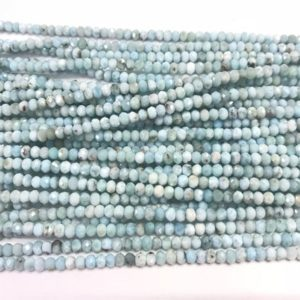 Shop Larimar Rondelle Beads! Genuine Faceted Larimar 3x4mm/2x3mm Rondelle Cut Natural Grade A Loose Blue Beads 15 inch Jewelry Supply Bracelet Necklace Material Support | Natural genuine rondelle Larimar beads for beading and jewelry making.  #jewelry #beads #beadedjewelry #diyjewelry #jewelrymaking #beadstore #beading #affiliate #ad