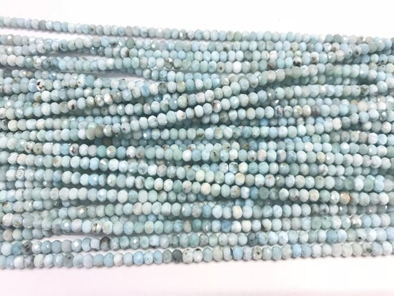 Genuine Faceted Larimar 3x4mm/2x3mm Rondelle Cut Natural Grade A Loose Blue Beads 15 Inch Jewelry Supply Bracelet Necklace Material Support