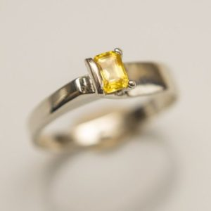 Shop Yellow Sapphire Rings! Genuine Yellow Sapphire Ring Set in 14K White Gold Designer Band With Custom 3-prong Setting. Dainty Canary Yellow Sapphire | Natural genuine Yellow Sapphire rings, simple unique handcrafted gemstone rings. #rings #jewelry #shopping #gift #handmade #fashion #style #affiliate #ad