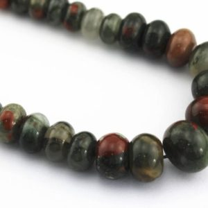 "Shop Bloodstone Beads! African Bloodstone Graduated Smooth Rondelle Beads 6-16mm 15.5"" Strand 
