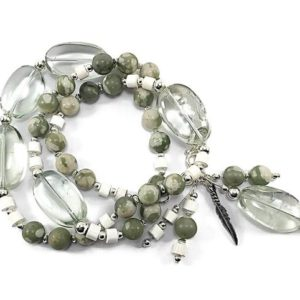 Shop Green Amethyst Bracelets! Green amethyst necklace statement piece in sterling silver, multi gemstone bead necklace, February birthstone necklace, gift for wife | Natural genuine Green Amethyst bracelets. Buy crystal jewelry, handmade handcrafted artisan jewelry for women.  Unique handmade gift ideas. #jewelry #beadedbracelets #beadedjewelry #gift #shopping #handmadejewelry #fashion #style #product #bracelets #affiliate #ad