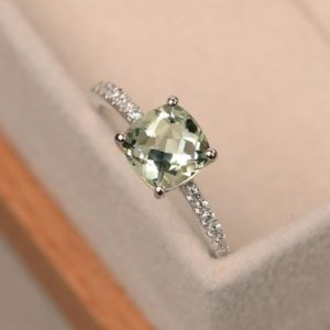 Green amethyst ring, cushion cut, sterling silver, engagement rings, gemstone ring | Natural genuine Gemstone rings, simple unique alternative gemstone engagement rings. #rings #jewelry #bridal #wedding #jewelryaccessories #engagementrings #weddingideas #affiliate #ad