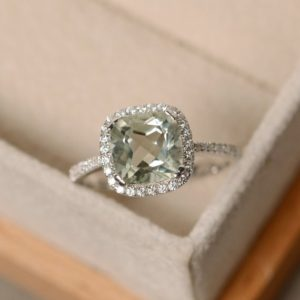 Green amethyst ring, cushion cut, sterling silver | Natural genuine Gemstone rings, simple unique handcrafted gemstone rings. #rings #jewelry #shopping #gift #handmade #fashion #style #affiliate #ad