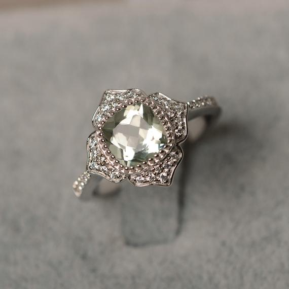Green Amethyst Ring Cushion Cut Halo Ring Sterling Silver Engagement Flower Ring For Woman