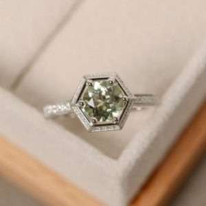 Green amethyst engagement ring, sterling silver, pale ring, natural quartz ring, round engagement ring | Natural genuine Gemstone rings, simple unique alternative gemstone engagement rings. #rings #jewelry #bridal #wedding #jewelryaccessories #engagementrings #weddingideas #affiliate #ad