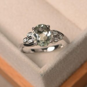 Green Amethyst Ring, Oval Cut Engagement Ring, Sterling Silver Ring | Natural genuine Gemstone rings, simple unique alternative gemstone engagement rings. #rings #jewelry #bridal #wedding #jewelryaccessories #engagementrings #weddingideas #affiliate #ad
