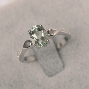 Shop Green Amethyst Rings! Green amethyst ring white gold wedding ring for women oval cut gemstone ring | Natural genuine Green Amethyst rings, simple unique alternative gemstone engagement rings. #rings #jewelry #bridal #wedding #jewelryaccessories #engagementrings #weddingideas #affiliate #ad