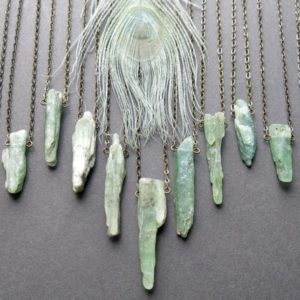 Green Kyanite Necklace – Raw Crystal Necklace –  Raw Stone Necklace – Raw Stone Jewelry – Raw Kyanite Jewelry – Green Crystal Pendant | Natural genuine Kyanite necklaces. Buy crystal jewelry, handmade handcrafted artisan jewelry for women.  Unique handmade gift ideas. #jewelry #beadednecklaces #beadedjewelry #gift #shopping #handmadejewelry #fashion #style #product #necklaces #affiliate #ad