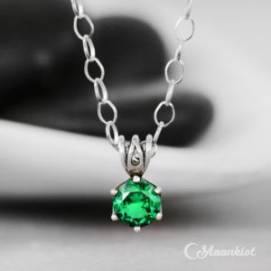 Shop Spinel Jewelry! Emerald Green Spinel Necklace, Single Stone Silver Necklace, August Birthstone Necklace, Emerald Pendant Necklace | Moonkist Creations | Natural genuine Spinel jewelry. Buy crystal jewelry, handmade handcrafted artisan jewelry for women.  Unique handmade gift ideas. #jewelry #beadedjewelry #beadedjewelry #gift #shopping #handmadejewelry #fashion #style #product #jewelry #affiliate #ad