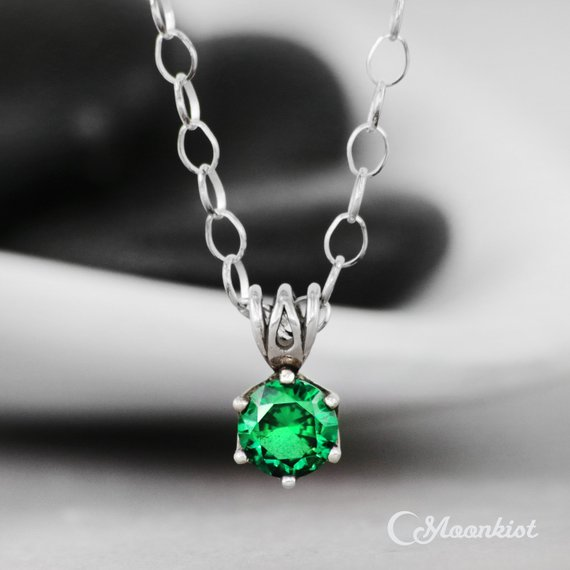 Emerald Green Spinel Necklace, Single Stone Silver Necklace, August Birthstone Necklace, Emerald Pendant Necklace   Moonkist Creations