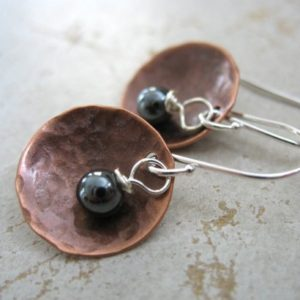 Copper Earrings, Hematite Copper Earrings, Stone Hammered Copper Dome Dangle Drop Earrings, Handmade Metalwork Earrings | Natural genuine Hematite earrings. Buy crystal jewelry, handmade handcrafted artisan jewelry for women.  Unique handmade gift ideas. #jewelry #beadedearrings #beadedjewelry #gift #shopping #handmadejewelry #fashion #style #product #earrings #affiliate #ad