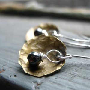 Shop Hematite Jewelry! Hematite Earrings, Dome Earrings, Hematite Stone Metalwork Earrings, Handmade dangle drop Earrings, Gemstone Jewelry, Luminous Creation | Natural genuine Hematite jewelry. Buy crystal jewelry, handmade handcrafted artisan jewelry for women.  Unique handmade gift ideas. #jewelry #beadedjewelry #beadedjewelry #gift #shopping #handmadejewelry #fashion #style #product #jewelry #affiliate #ad