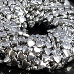 """Shop Hematite Bead Shapes! 8MM Silver Hematite Beads Heart Grade AAA Natural Gemstone Half Strand Loose Beads 7.5"""" BULK LOT 1,3,5,10 and 50 (104544h-1236) 