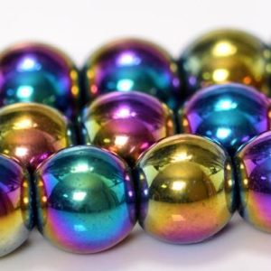 Rainbow Hematite Beads Grade AAA Natural Gemstone Round Loose Beads 3MM 4MM 6MM 7-8MM 12MM Bulk Lot Options | Natural genuine round Hematite beads for beading and jewelry making.  #jewelry #beads #beadedjewelry #diyjewelry #jewelrymaking #beadstore #beading #affiliate #ad
