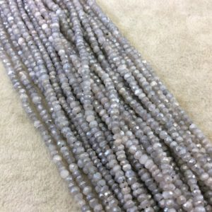 "Shop Labradorite Rondelle Beads! Holiday Special! 2-3mm x 2-3mm Faceted Natural Gray Blue Labradorite Rondelle Beads – 13"" Strand (~ 140 Beads) 
