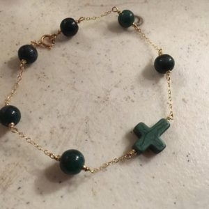 Shop Howlite Bracelets! Green Bracelet – Gold Chain Jewelry – Howlite Gemstone Jewellery – Cross | Natural genuine Howlite bracelets. Buy crystal jewelry, handmade handcrafted artisan jewelry for women.  Unique handmade gift ideas. #jewelry #beadedbracelets #beadedjewelry #gift #shopping #handmadejewelry #fashion #style #product #bracelets #affiliate #ad