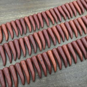 """Shop Howlite Bead Shapes! Chocolate Colored Howlite Beads Howlite Horn Tusk Point Claw Tooth Bead Strand Top Drilled Loose Equal Beads Supplies 15.5"""" Full Strand 