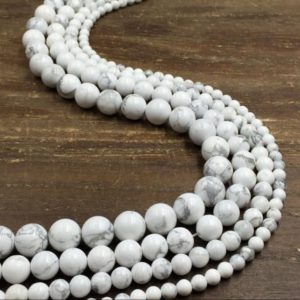 "Shop Howlite Beads! White Howlite Beads Smooth Round Howlite Beads Gemstone Beads 4-12mm DIY Jewelry beads supplies jewelry making 15.5"" strand 