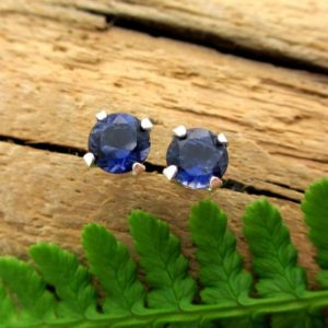 Shop Iolite Earrings! Iolite Studs – Genuine Iolite Stud Earrings in Real 14k Gold, Sterling Silver, or Platinum – 3mm, 4mm, 5mm | Natural genuine Iolite earrings. Buy crystal jewelry, handmade handcrafted artisan jewelry for women.  Unique handmade gift ideas. #jewelry #beadedearrings #beadedjewelry #gift #shopping #handmadejewelry #fashion #style #product #earrings #affiliate #ad