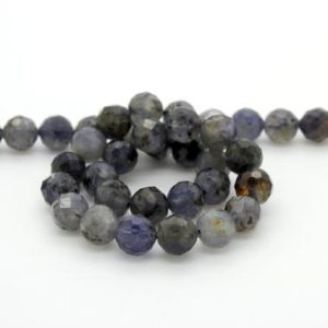 Shop Iolite Faceted Beads! Natural Iolite Faceted Round Sphere Ball Loose Natural Gemstone Beads | Natural genuine faceted Iolite beads for beading and jewelry making.  #jewelry #beads #beadedjewelry #diyjewelry #jewelrymaking #beadstore #beading #affiliate #ad