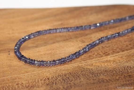 Iolite Necklace, Iolite Jewelry, Hill Tribe Beads, Shaded, Beads, Gemstone Jewelry