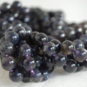 "High Quality Grade A Natural Iolite (deep Violet Blue) Semi-precious Gemstone Round Beads – 4mm, 6mm, 8mm Sizes – 16"" Strand 
