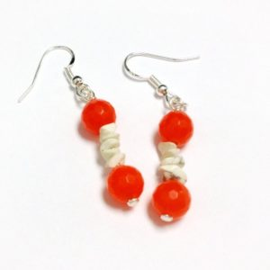 Shop Jade Earrings! Orange Earrings – Jade Gemstone Jewelry – White Turquoise Jewellery – Boho – Sterling Silver – Neon – Modern ER-186 | Natural genuine Jade earrings. Buy crystal jewelry, handmade handcrafted artisan jewelry for women.  Unique handmade gift ideas. #jewelry #beadedearrings #beadedjewelry #gift #shopping #handmadejewelry #fashion #style #product #earrings #affiliate #ad