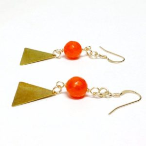 Shop Jade Earrings! Triangle Earrings Orange Earrings Gold Jewelry Modern Jewellery Geometric Tangerine Jade Gemstone Hipster Fashion | Natural genuine Jade earrings. Buy crystal jewelry, handmade handcrafted artisan jewelry for women.  Unique handmade gift ideas. #jewelry #beadedearrings #beadedjewelry #gift #shopping #handmadejewelry #fashion #style #product #earrings #affiliate #ad