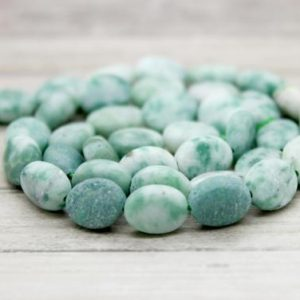Shop Jade Bead Shapes! New Mountain Jade, Matte New Mountain Jade Flat Oval Gemstone Loose Beads | Natural genuine other-shape Jade beads for beading and jewelry making.  #jewelry #beads #beadedjewelry #diyjewelry #jewelrymaking #beadstore #beading #affiliate #ad